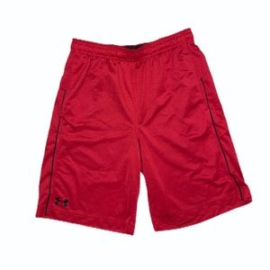 Under Armour Boys' Loose Fit Red Shorts M 8